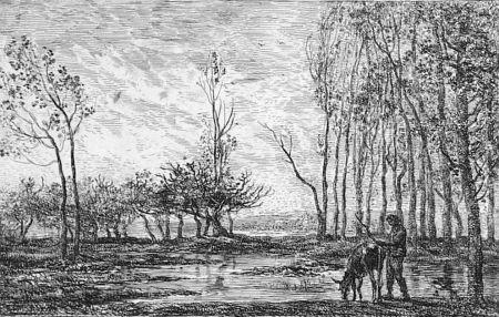 Офорт Daubigny - Soleil couchant