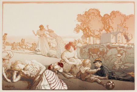 Гравюра На Дереве Lepere - Sonntag vor den Thoren von Paris  (Bucolique moderne)