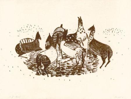 Литография Music - Spielende Pferde