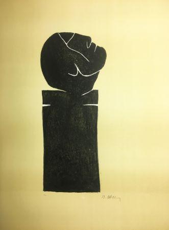 Литография Ubac - STÈLE TÊTE LEVÉE . Lithograpie originale signée au crayon (1982).