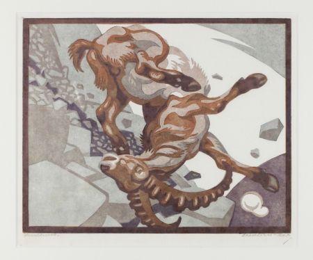 Линогравюра Bresslern-Roth - Stürzender Steinbock (Falling Ibex)