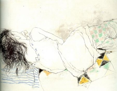 Литография Jansem - Stephanie au Collant Damier