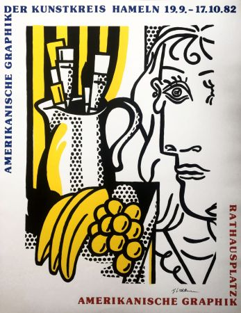 Сериграфия Lichtenstein - 'Still Life with Picasso' Hand Signed Pop Art Poster Print