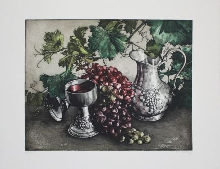 Офорт И Аквитанта Rusch - Stilleben mit Wein / Still Life with Wine