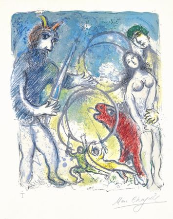 Литография Chagall - Sur la Terre des Dieux (In the Land of the Gods): Anacreon
