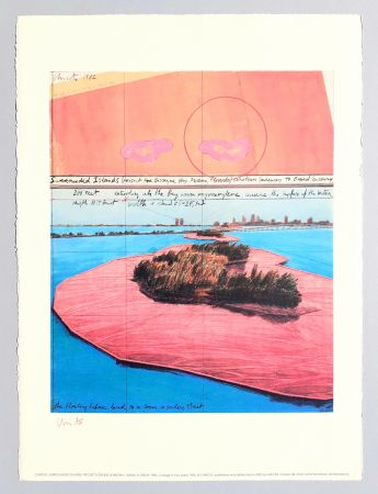 Литография Christo - Surrounded islands, project for Biscane Bay
