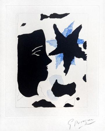 Офорт И Аквитанта Braque - Téte En Profil E L'Étoile (Head In Profile And Star) From Georges Braque – Nouvelles Sculptures Et Plaque Graveés, 1960