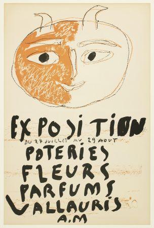 Литография Picasso - Tête de Faune (Exposition Poteries Fleurs Parfums Vallauris A.M)