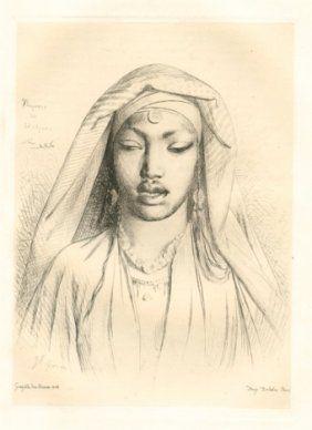 Гравюра Gérôme - Tête de negresse du Hedjaz