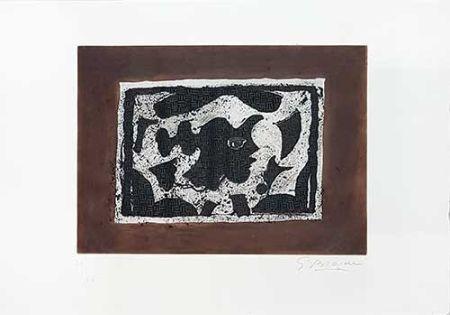 Гравюра Braque - Tête grecque sur fond brun
