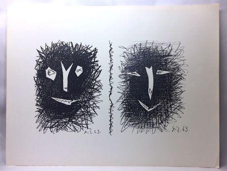 Литография Picasso - Têtes de Faunes