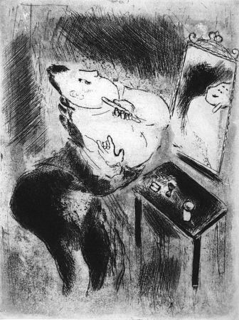 Офорт Chagall - Tchitchikov Se Rase