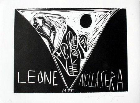 Линогравюра Paladino - Terra tonda africana 1 - Leone nella sera