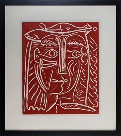 Линогравюра Picasso - Tete De Femme Au Chapeau, Paysage Avec Baigneurs