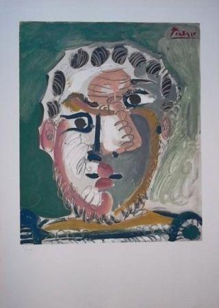 Литография Picasso - Tete d'homme barbu