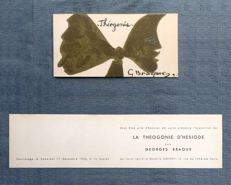 Литография Braque - THÉOGONIE. Carton d'invitation au vernissage Galerie Maeght. 1954