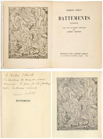 Иллюстрированная Книга Masson - Thérèse Aubray : BATTEMENTS. 1/35 avec la gravure d'André Masson (Paris, 1933).