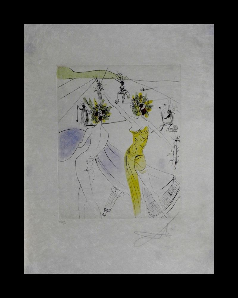 Гравюра Dali - The Hippies Flower-Woman at The Piano