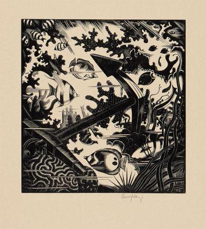 Офорт Gibbings - The Lost Anchor