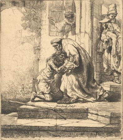 Гравюра Rembrandt - The Return of the Prodigal Son