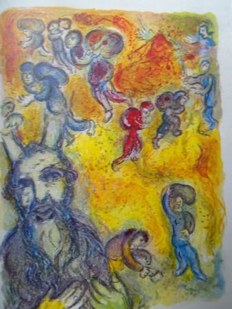 Литография Chagall - The story of the Exodus, plate 3:  En ces jours