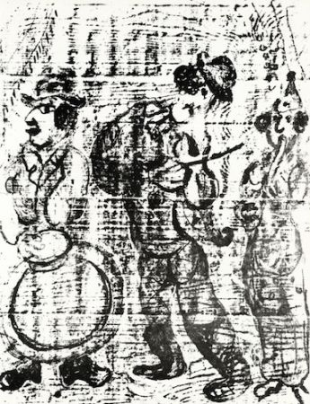 Литография Chagall - The Wandering Musicians