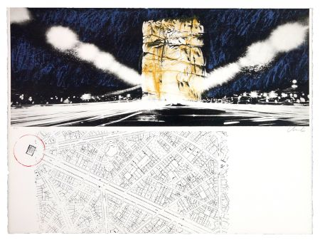 Литография Christo - The wrapping of l'Arc de Triumph (l'empaquement de l'Arc de Triomphe)