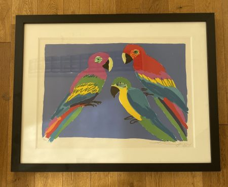 Линогравюра Ting - Three Parrots