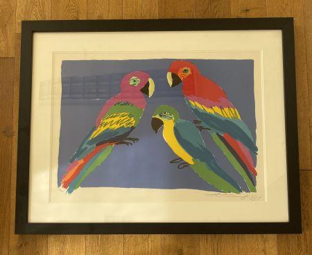 Линогравюра Ting - Three Parrots