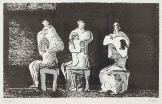 Литография Moore - Three Seated Figures In Setting
