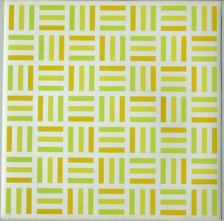 Сериграфия Morellet - Tirets jaunes,jaunes-verts,jaunes orange