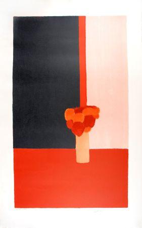 Литография Cathelin - Tokonoma rouge et noir - Red and black Tokonoma