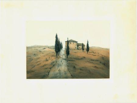 Офорт И Аквитанта Gortner - Toskanische Landschaft / Tuscan Landscape