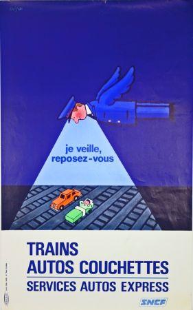 Литография Savignac - Trains Autos Couchettes