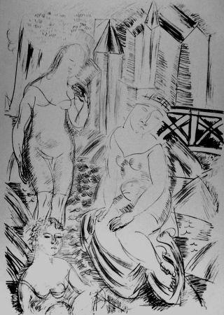 Литография Dufy - Trois baigneuses devant le port de Sainte-Adresse