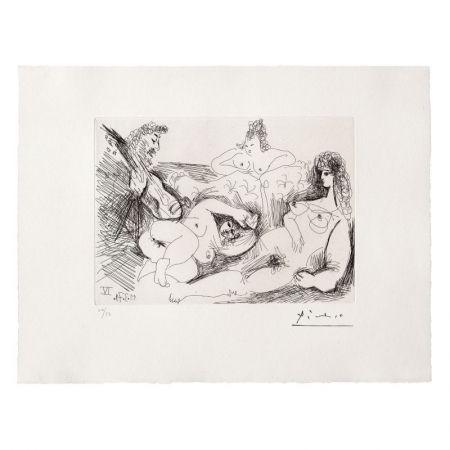 Офорт И Аквитанта Picasso - Trois Femmes nues écoutant un joueur de guitare
