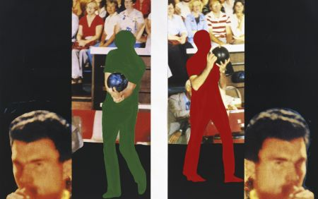 Литография Baldessari - Two bowlers (with questioning person)