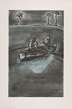 Офорт Doig - Two People at Night (indigo)