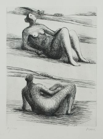 Офорт И Аквитанта Moore - Two reclining figures