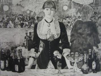 Гравюра Guerard - Un bar aux Folies-Bergère