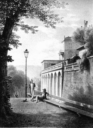 Литография Fontanesi - Un coin de la Treille