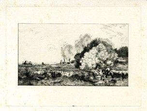 Гравюра Corot - Un gué