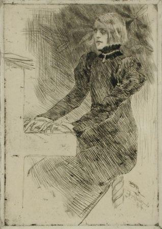 Гравюра Rops - Une pianiste shaker / A Shaker Pianist