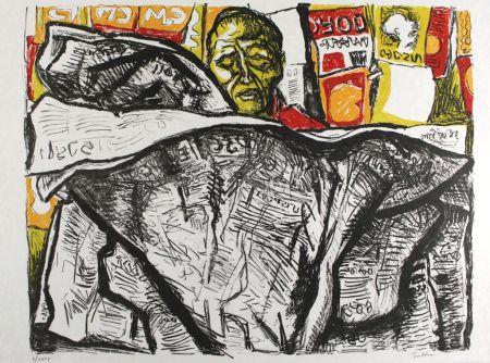 Литография Guttuso - Uomo con giornale / Man with Newspaper