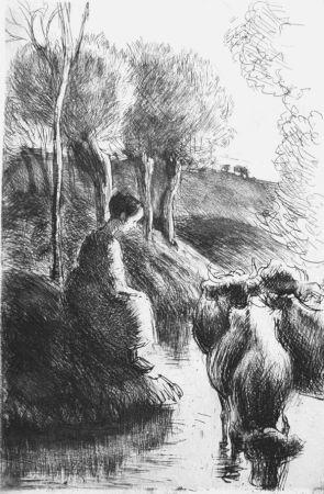 Офорт Pissarro - Vachère au bord de l'eau