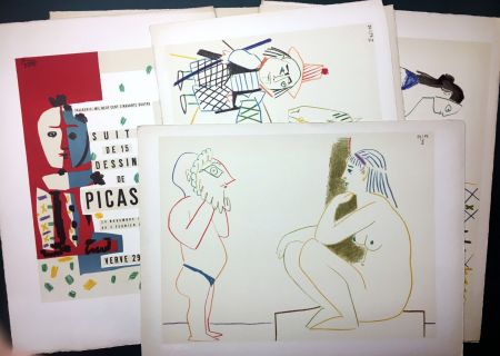 Литография Picasso - Vallauris, suite de 180 (15) dessins de Picasso. RARISSIME SUITE COMPLÈTE SUR VÉLIN D'ARCHES.
