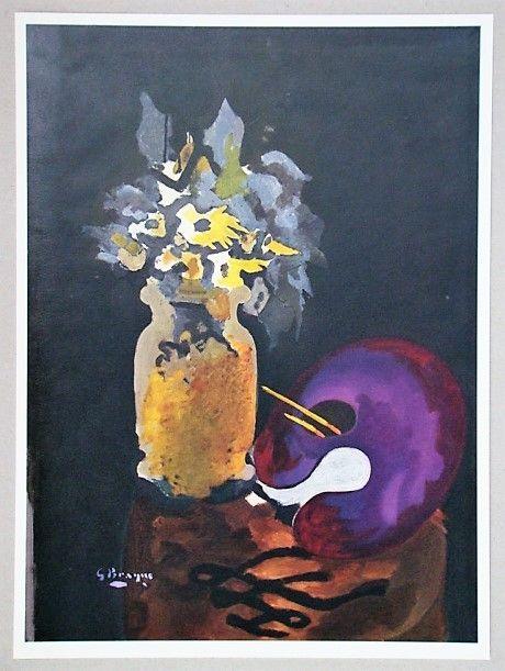 Литография Braque (After) - Vase de fleurs jaunes