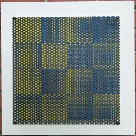 Гравюра На Дереве Asis - Vibration 16 carres bleu et jaune