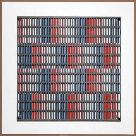 Гравюра На Дереве Asis - Vibration bandes bleus et rouges