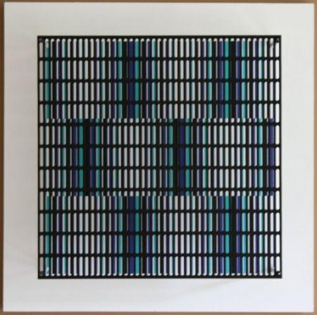 Гравюра На Дереве Asis - Vibration bandes noir, bleu et turquoise